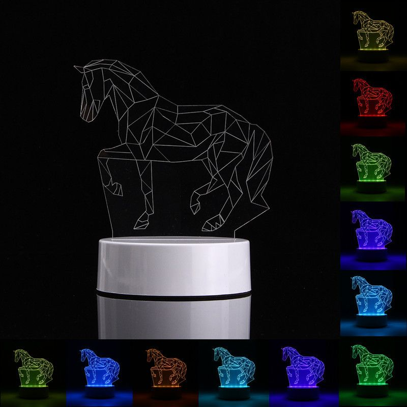 3d Horse Shape Rgb Usb Night Light Color Changing Led Table Lamp 24 Key Controller Xmas Gift Color Changing Led Led Table Lamp Night Light Kids