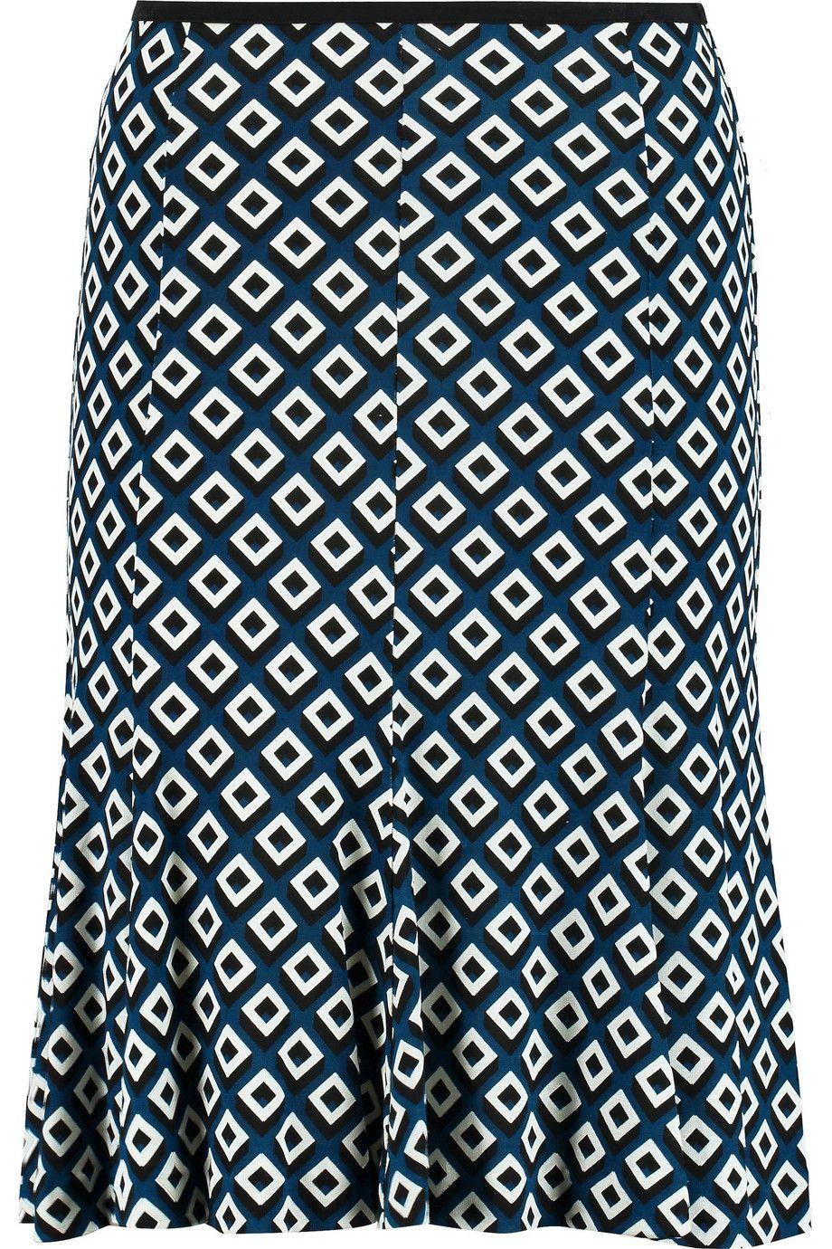 DIANE VON FURSTENBERG Thames Printed Silk-Jersey Skirt. #dianevonfurstenberg #cloth #skirt