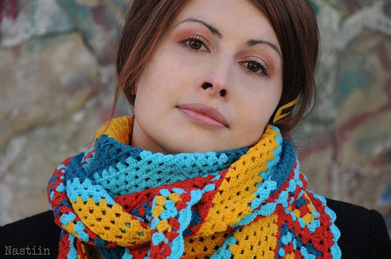 Crochet shawl pattern Crochet wrap pattern Triangle scarf crochet ...