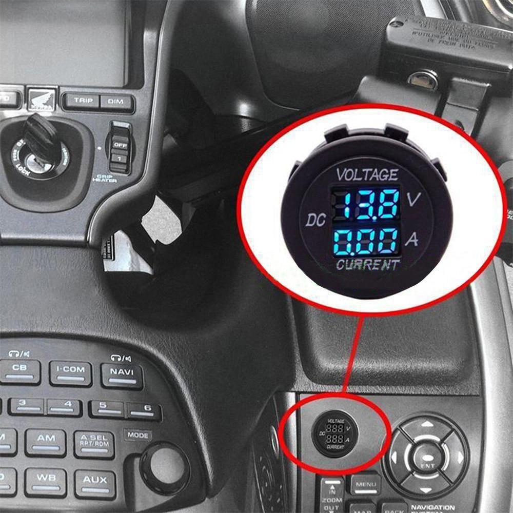 MICTUNING Current Tester /& Voltage Tester for Boat Marine Vehicle Motorcycle Truck ATV UTV Car Camper LED Round Panel 12-24V LED Digital Voltmeter Ammeter Multimeter