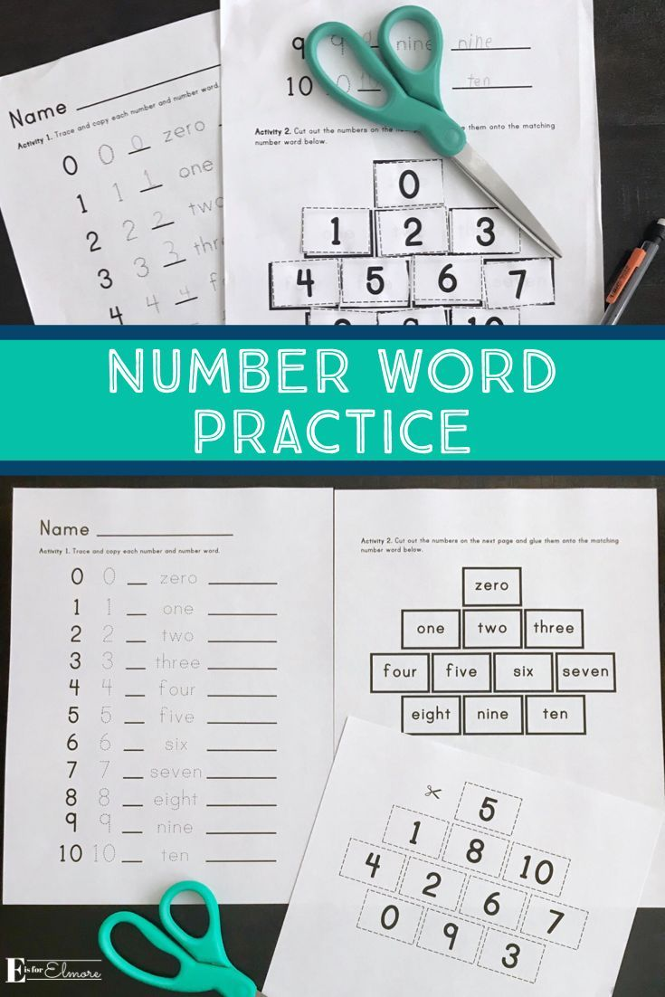 Number Word Practice Worksheet | Pre-k and Elementary numbers, math ...
