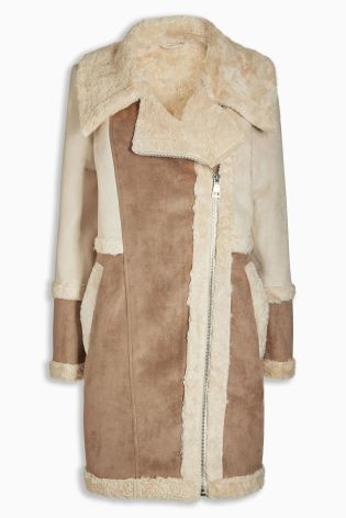 Buy Ecru Faux Shearling Jacket from the Next UK online shop | Want ...