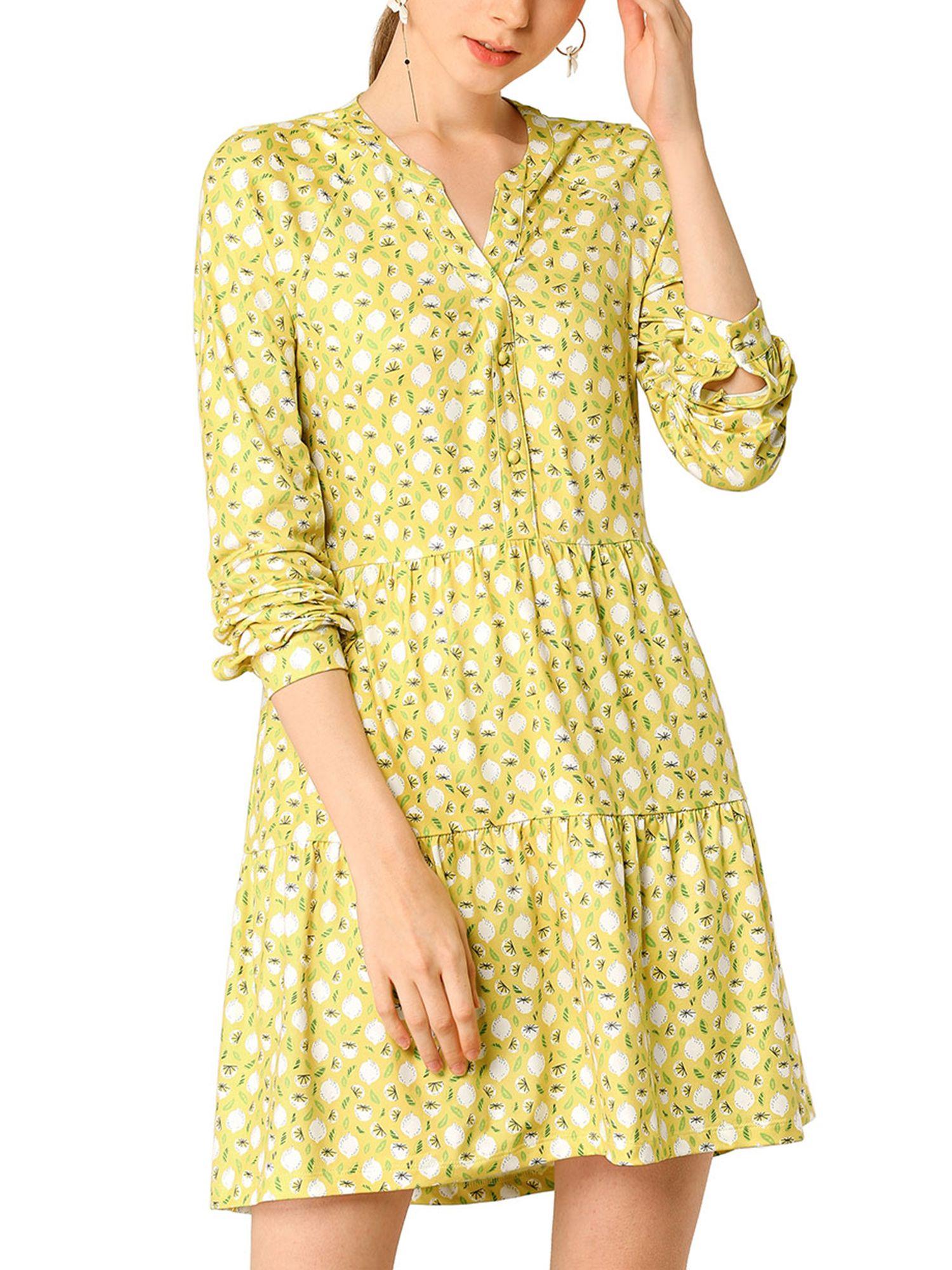 Unique Bargains Unique Bargains Women S Floral V Neck Cinched Waist Long Sleeve Dress Walmart Com Long Sleeve Dress Dresses Womens Dresses [ 2000 x 1500 Pixel ]