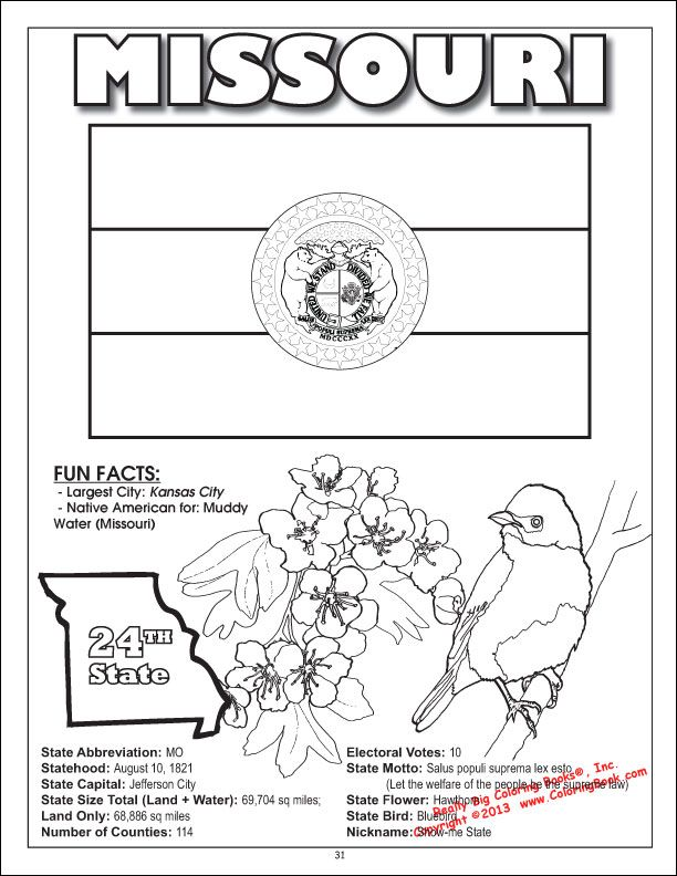 States Coloring Book Missouri Flag Coloring Pages Coloring
