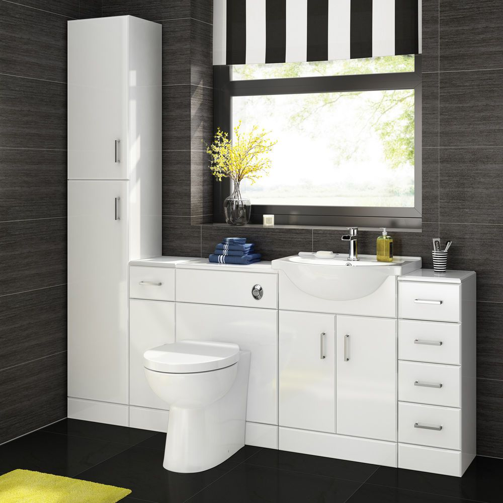 Excellent Details About Gloss White Vanity Units Basin Storage Home Interior And Landscaping Transignezvosmurscom