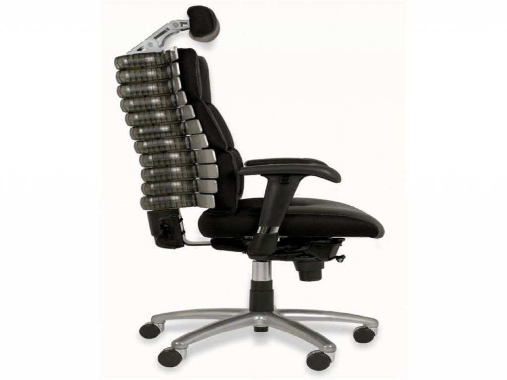 awesome black full grain leather office chair with headrest and