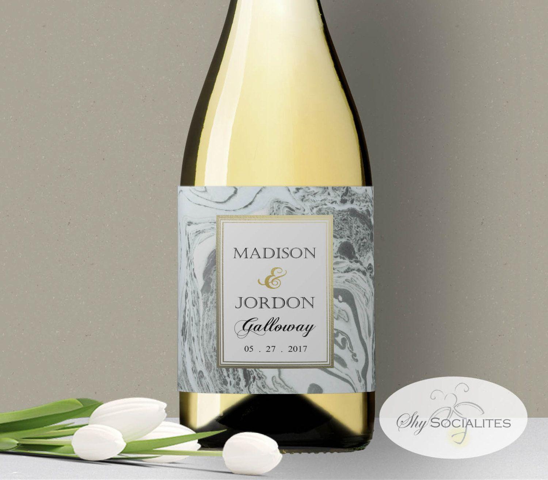 Marble Printable Wine Label Aqua And Gold Wedding Diy Instant