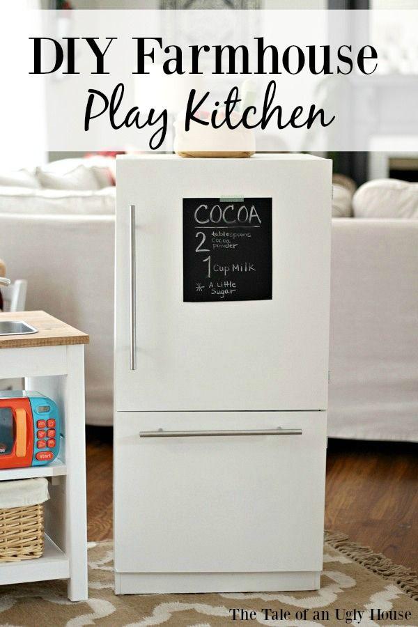 DIY Farmhouse Style Play Kitchen Pottery Barn Hack DIY Furniture DIY Play Kitchen Diy