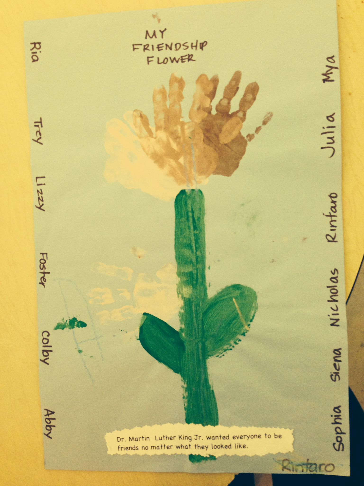 Pre-K 3 students in Mrs. Stayer's class made these friendship flowers in honor of Martin Luther King, Jr. Day