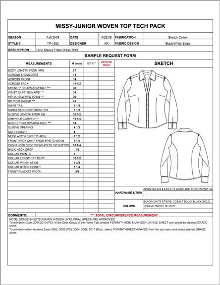 Missy Junior Spec Sheet Sample - Womens, Mens, Childrens \ Plus - sample specification sheet template example