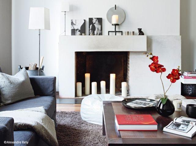 idee deco salon bougies cheminee livingroom inspiration. Black Bedroom Furniture Sets. Home Design Ideas