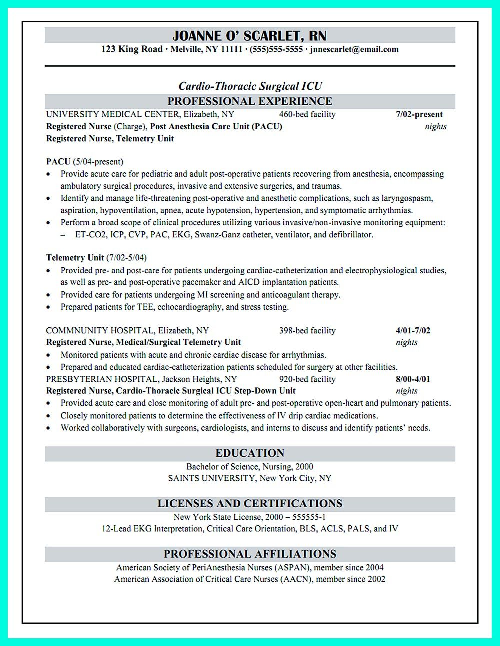 Critical care nurse resume has skills or objectives that are written ...