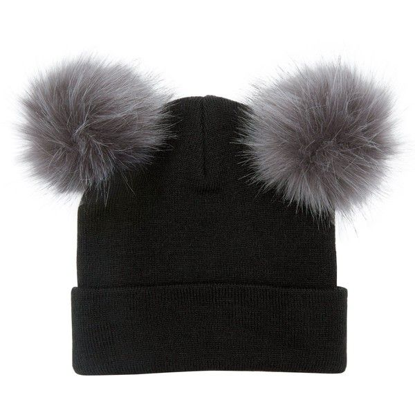 a9d2ee42a99 New Look Black Double Faux Fur Pom Pom Beanie Hat ( 11) ❤ liked on ...