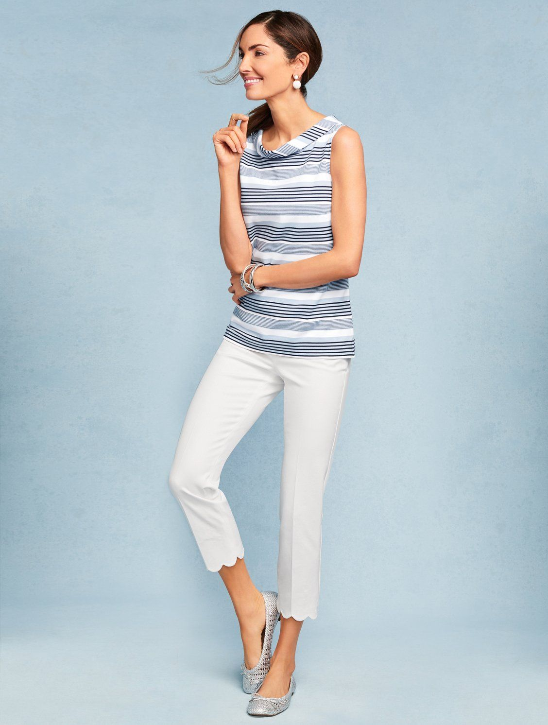 Sophisticated Stripes And A Portrait Neckline Add Instant Polish To Our Ponte Shell Fantastic On Its Own For Clothes Summer Dresses For Women Stylish Fashion [ 1492 x 1128 Pixel ]