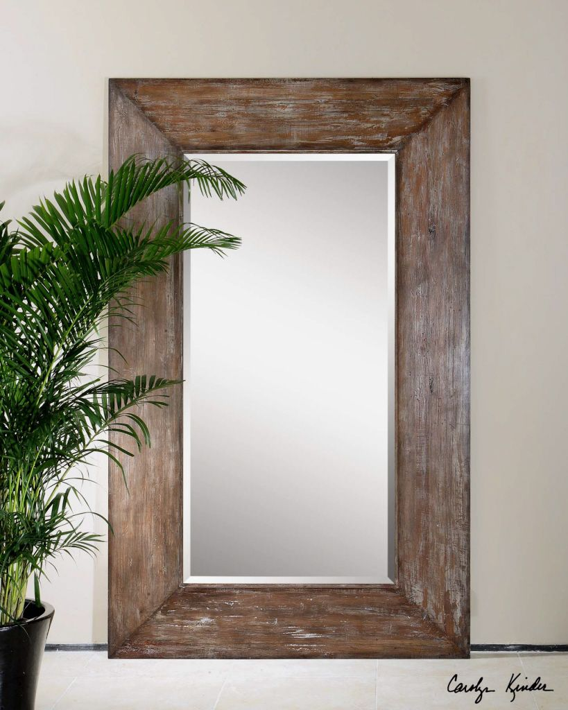 Large antiqued hickory tone beveled wall mirror langford for Rustic mirror