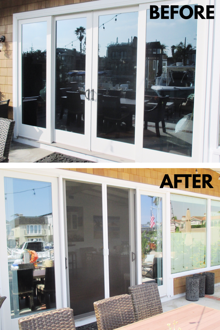 Check Out These White Framed Retractable Screen Double Doors With Black Fiberglass Mesh That We Installe Retractable Screen Door Retractable Screen Screen Door
