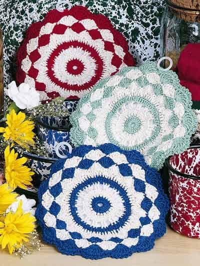 Free Shells Stripes Pot Holders Crochet Pattern Crochet