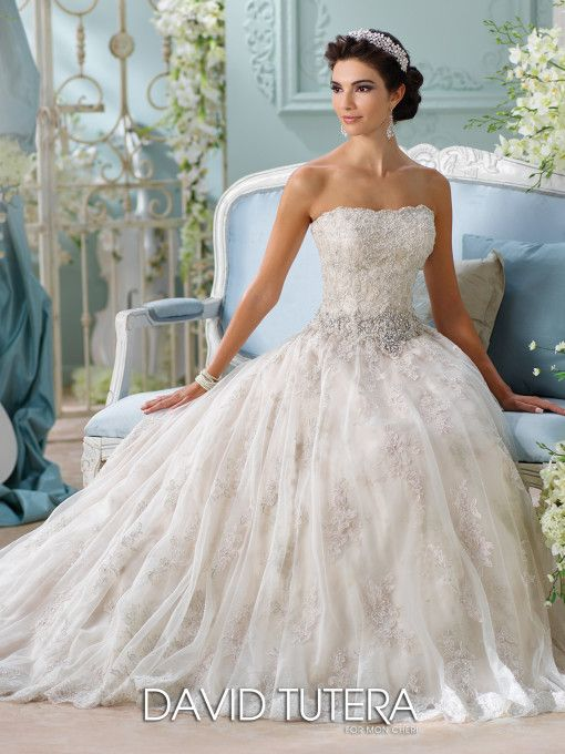 Metallic lace embroidery tulle ball gown wedding dress 16230 david tutera wedding dresses 116230 jelena junglespirit Choice Image