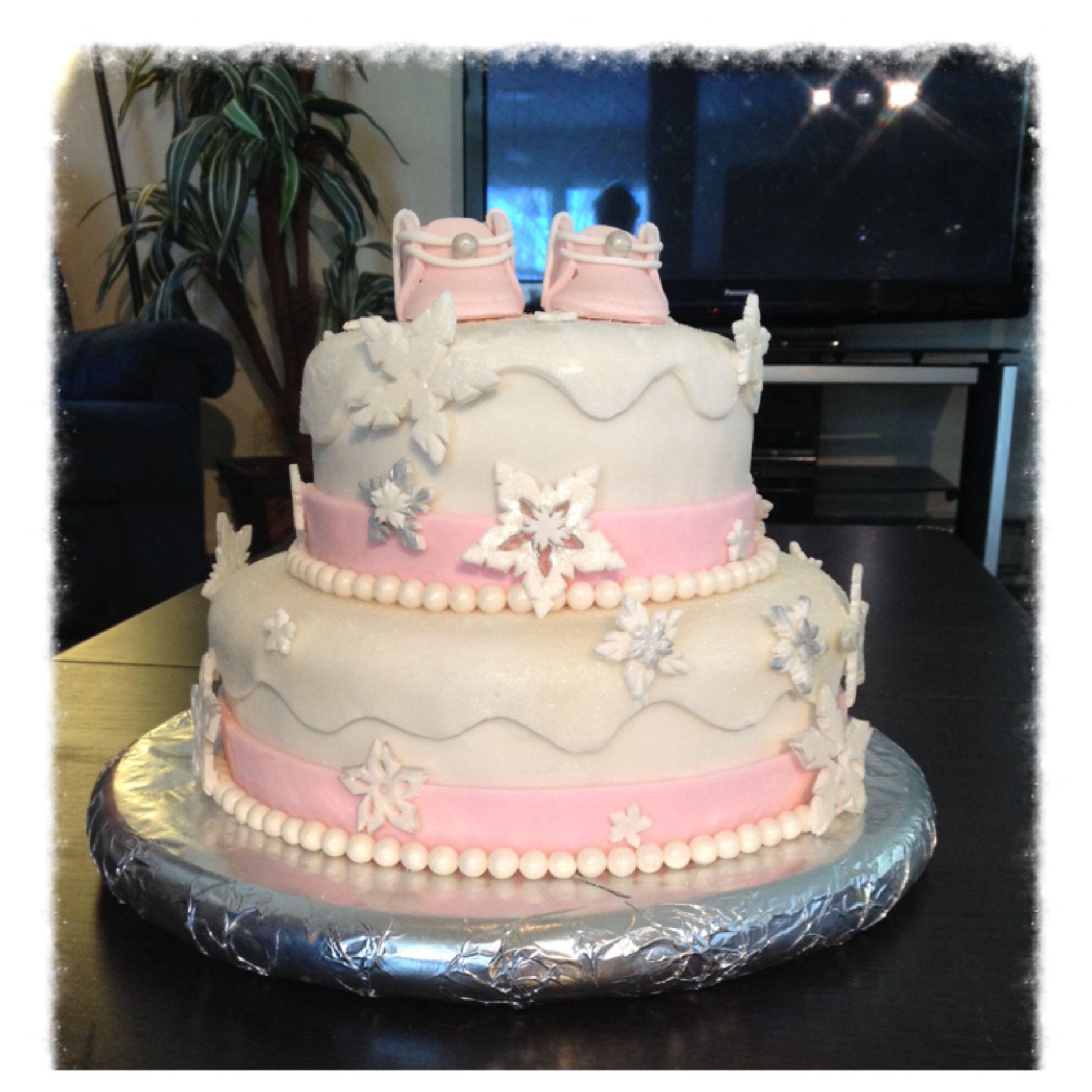 Baby Shower Cake Girls Winter Wonderland Theme With Edible