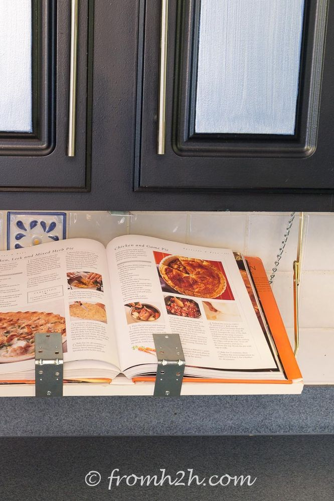 DIY Pull Down Under Cabinet Cookbook / IPad Shelf Shelves