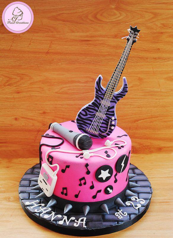 Excellent Rockstar Cake For Hanna With Images Rockstar Birthday Party Funny Birthday Cards Online Kookostrdamsfinfo