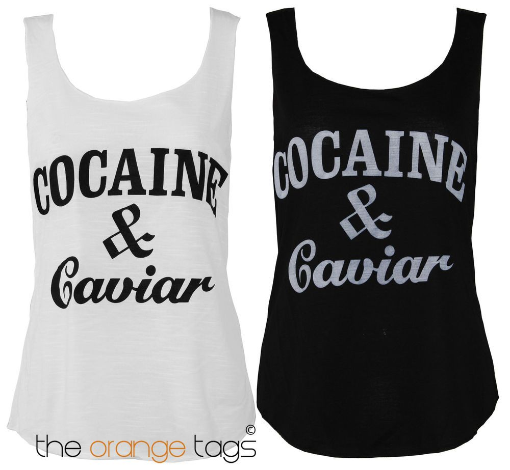 Black t shirt ebay - Details About Womens Cocaine And Caviar Print Top Ladies Sleeveless Vest Casual T Shirt