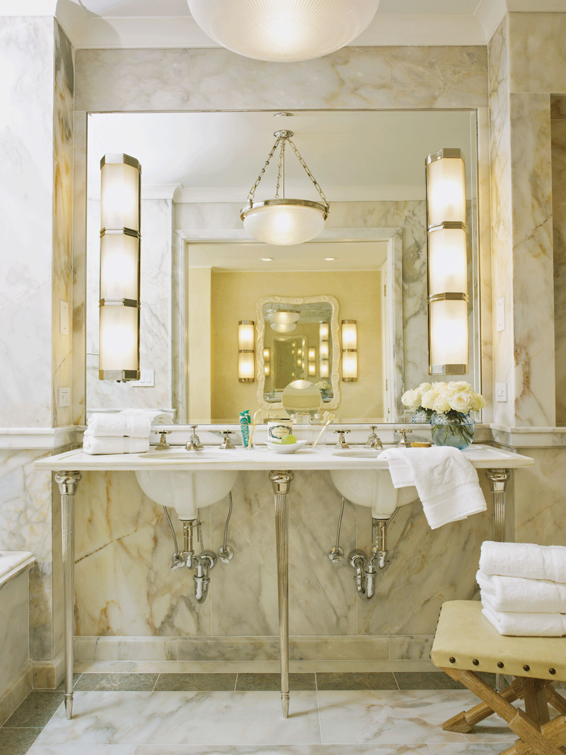 Ann Sacks Selene Custom Cut Marble Slab And 2 3 8 X Plaza Molding In Honed Finish Shown With Kallista Plumbing For Town By Michael S Smith Basin