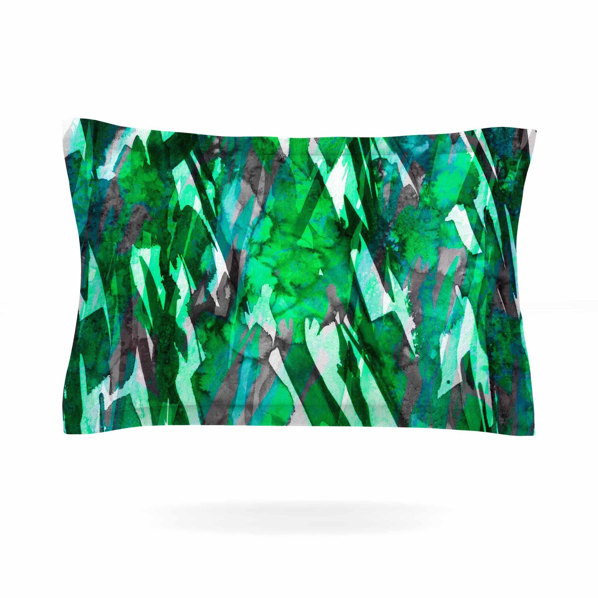 """Ebi Emporium """"Frosty Bouquet 7"""" Green Abstract Pillow Sham"""