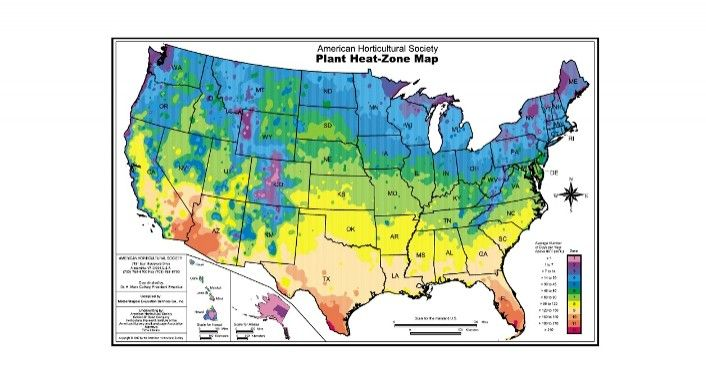 Ahs Plant Heat Zone Map American Horticultural Society Http