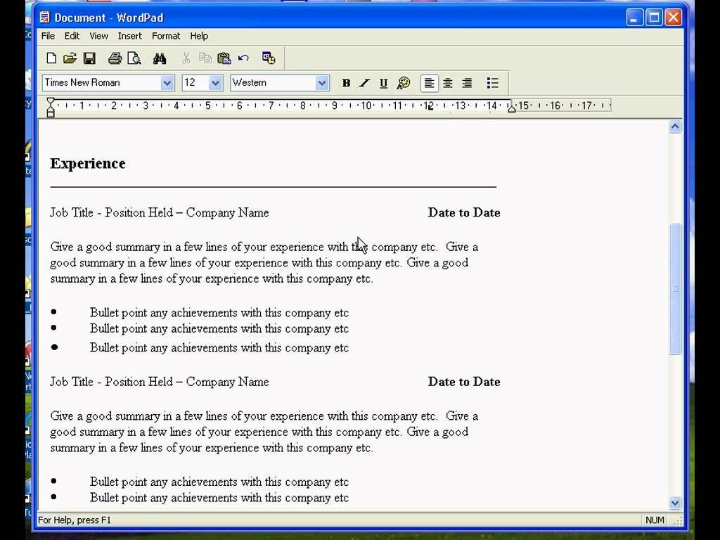 Curriculum Vitae Wordpad Modelos de curriculum vitae