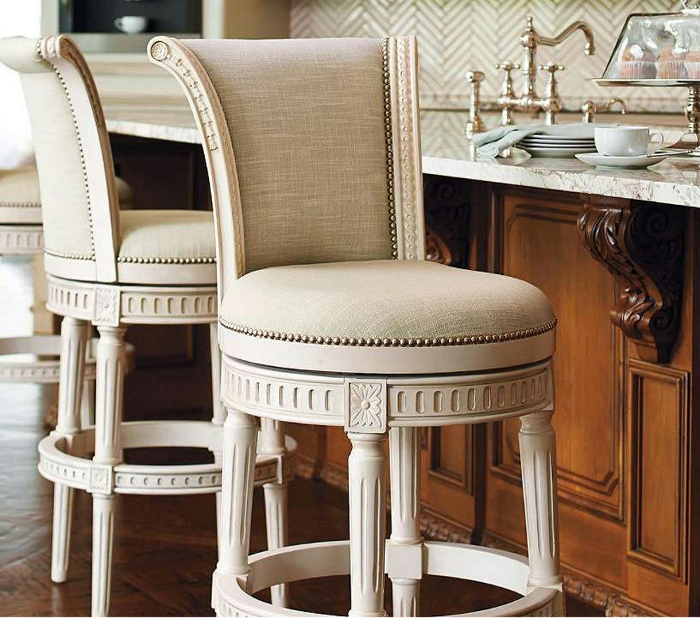 Details About 2pcs Leather Swivel Bar Stools Adjustable