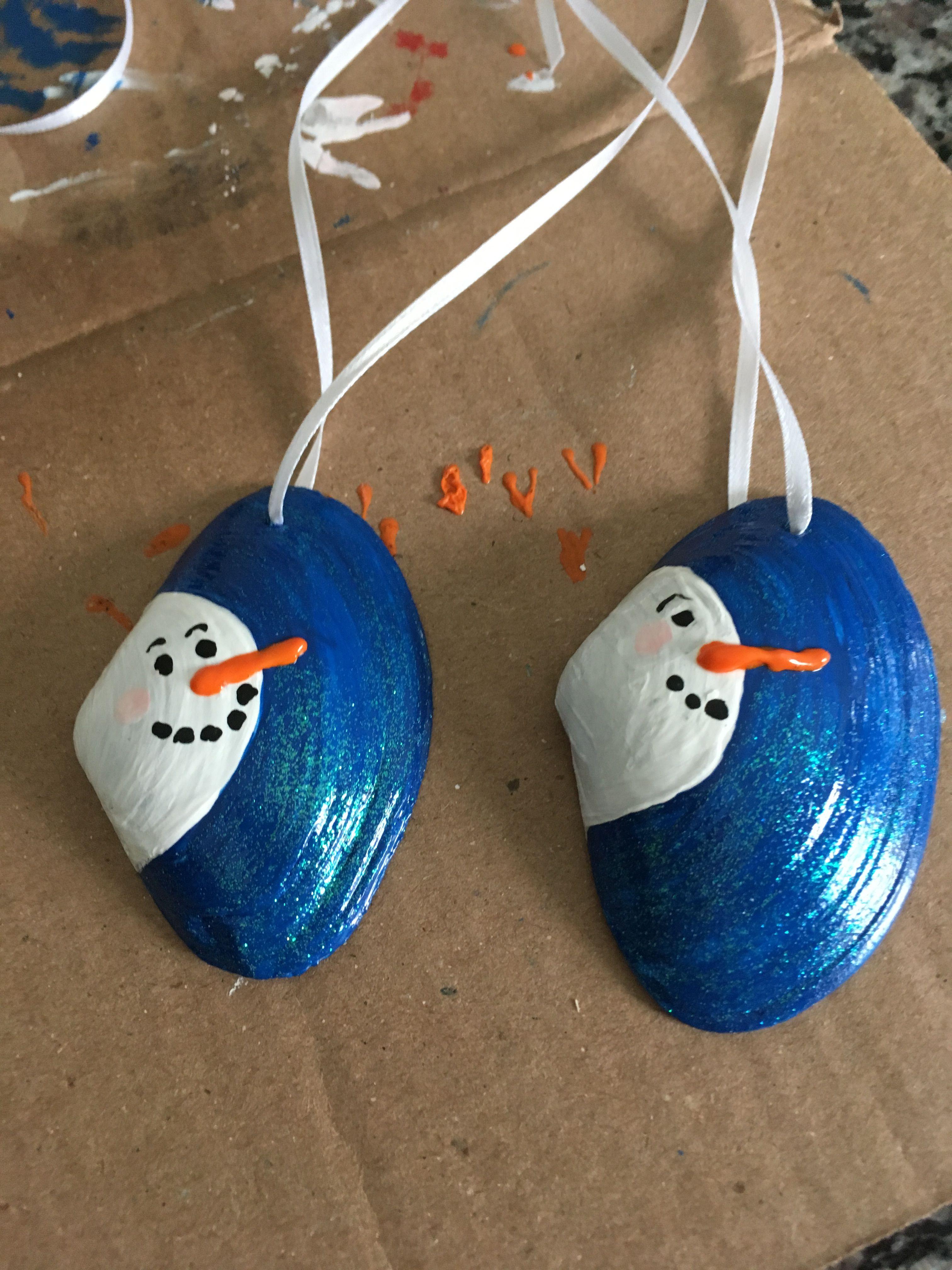 Clam Shell Snowmen Christmas Ornament Crafts Seashell Christmas Ornaments Christmas Crafts