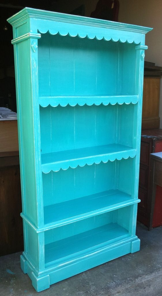 finest selection 9ad36 cb3e5 Ornate Bookshelf Refinished in Turquoise & White Glaze ...