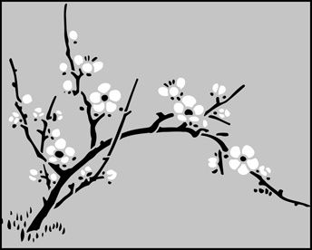 Cherry Blossom Silhouette Cherry Blossom Stencil Silhouette Flower Stencil Stencils Wall Stencil Patterns