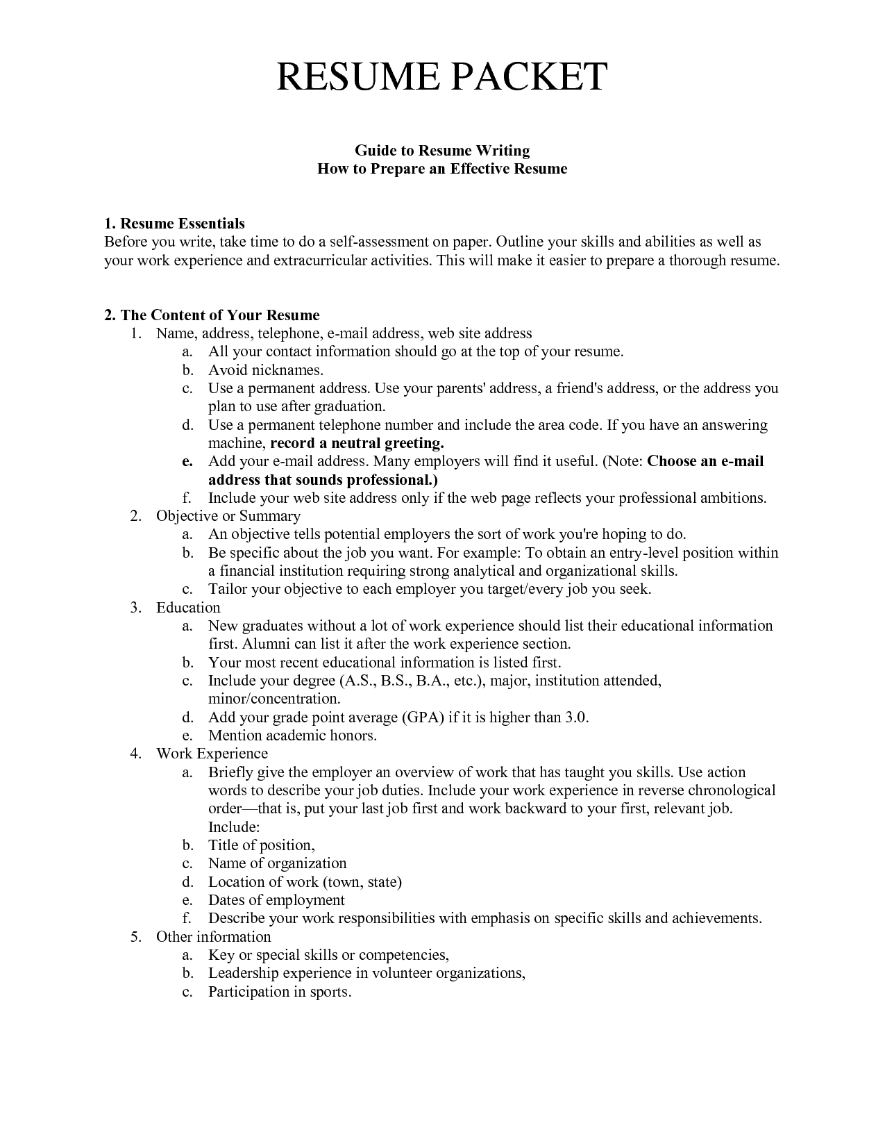 Guide To Resume Writing How To Prepare An Effective Resume