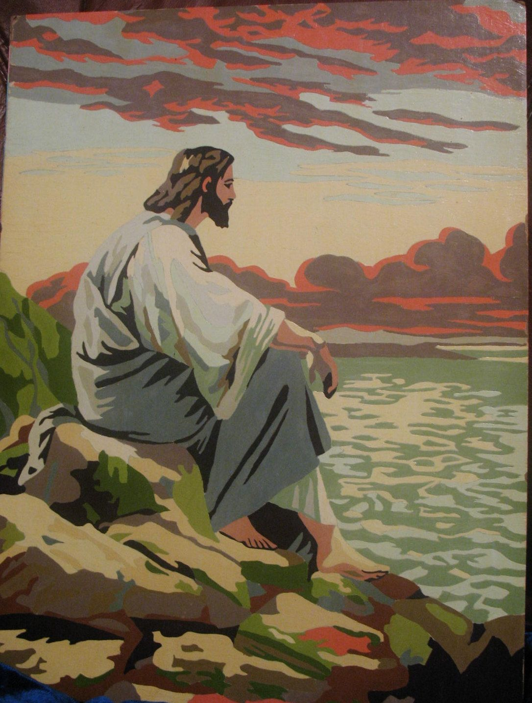 Paint By Number Pbn Jesus Gazing At Lake Or Sea 14 95 Via Etsy Painting Paint By Number Vintage Painting