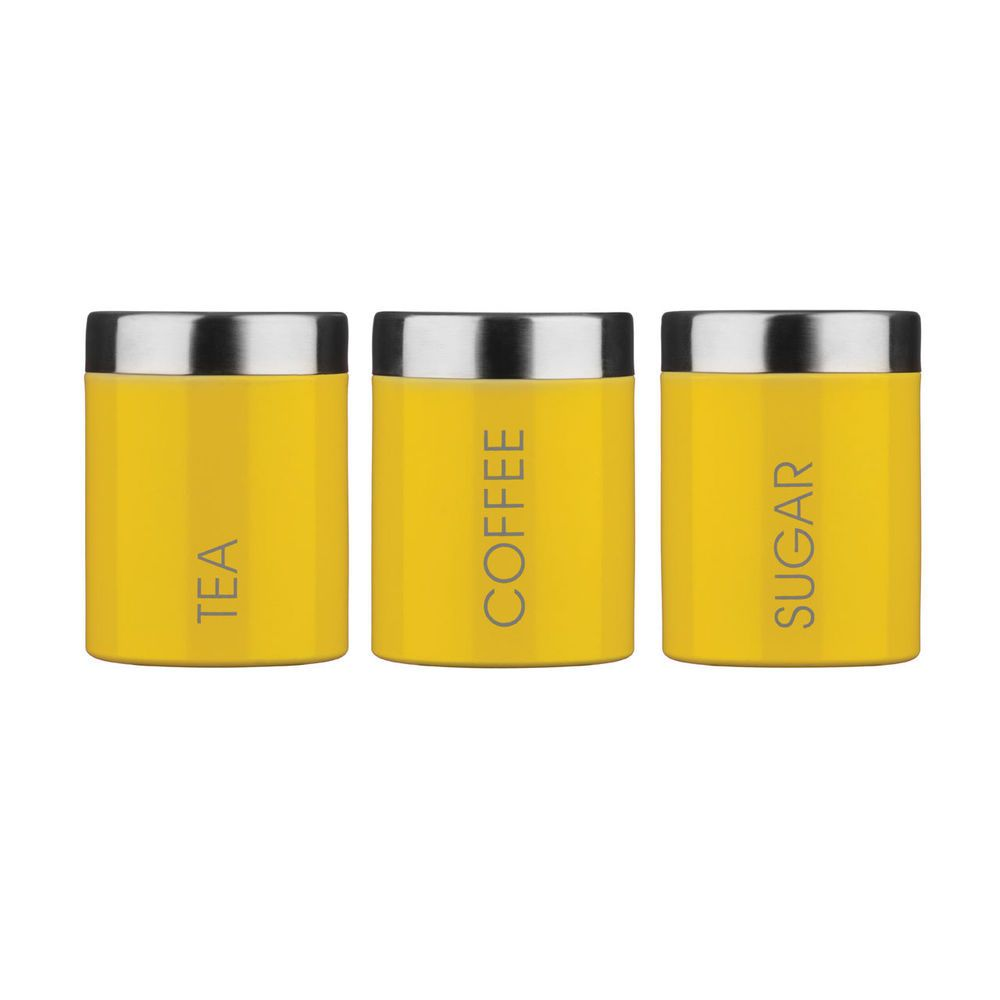 Yellow Tea Coffee Sugar Jars