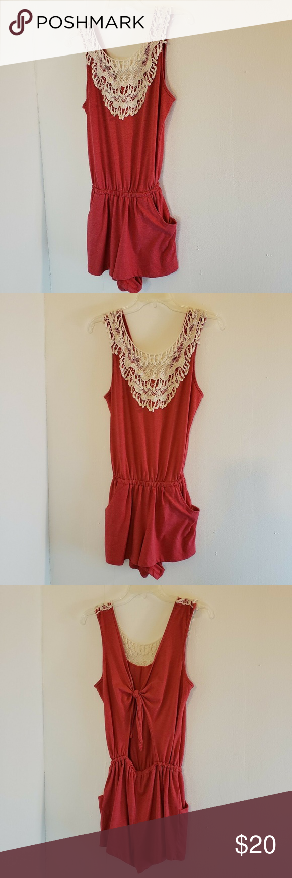 9bc34d923178 Cut   Sew Los Angeles Romper Red Open Back Crochet Cut   Sew Los Angeles  Romper Red Open Back Crochet Neckline Size Small Pockets Cut   Sew Pants  Jumpsuits ...