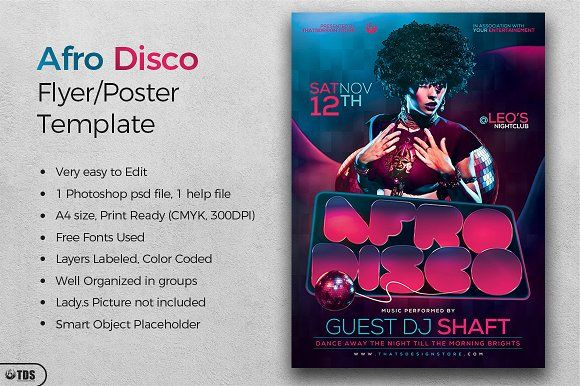Afro Disco Flyer Template Creativework  Flyer Templates