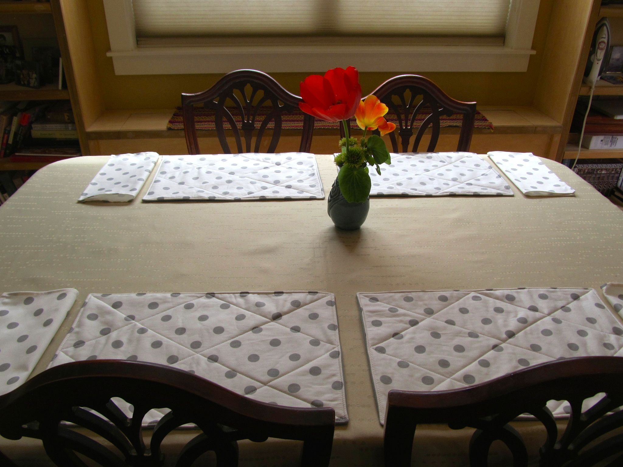 Placemat Set 19 White With Gray Polka Dots Up Cycled Fabric Placemat Sets Table Linens Handmade Table