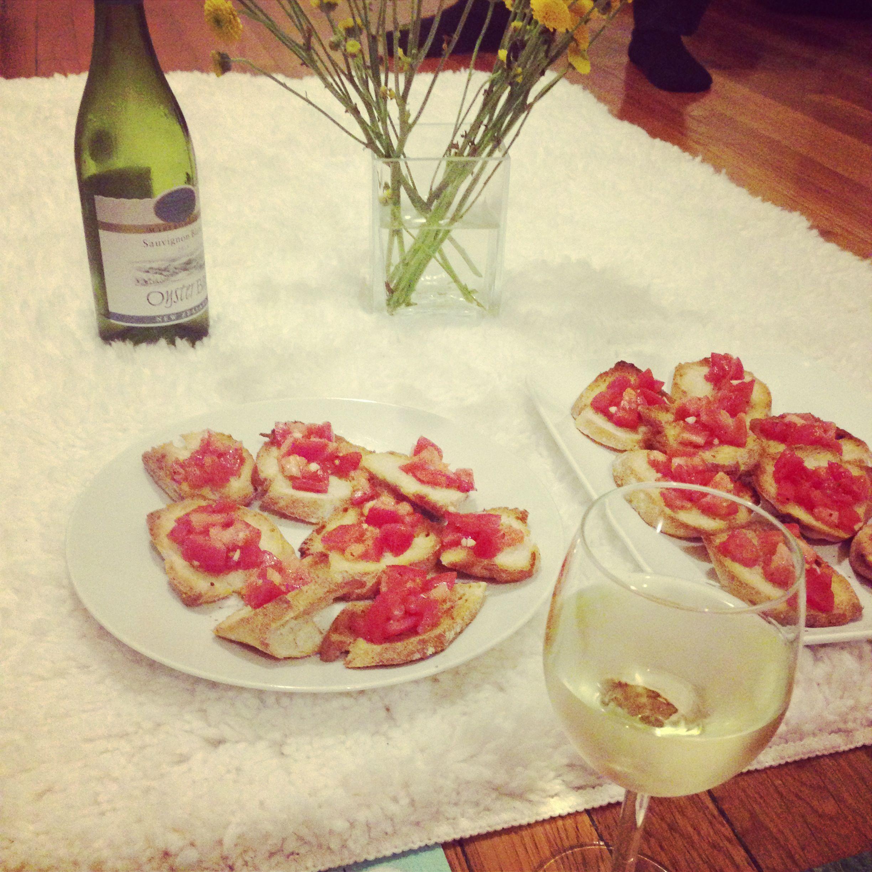 When I cook we sit on the floor bruchestta ,wine