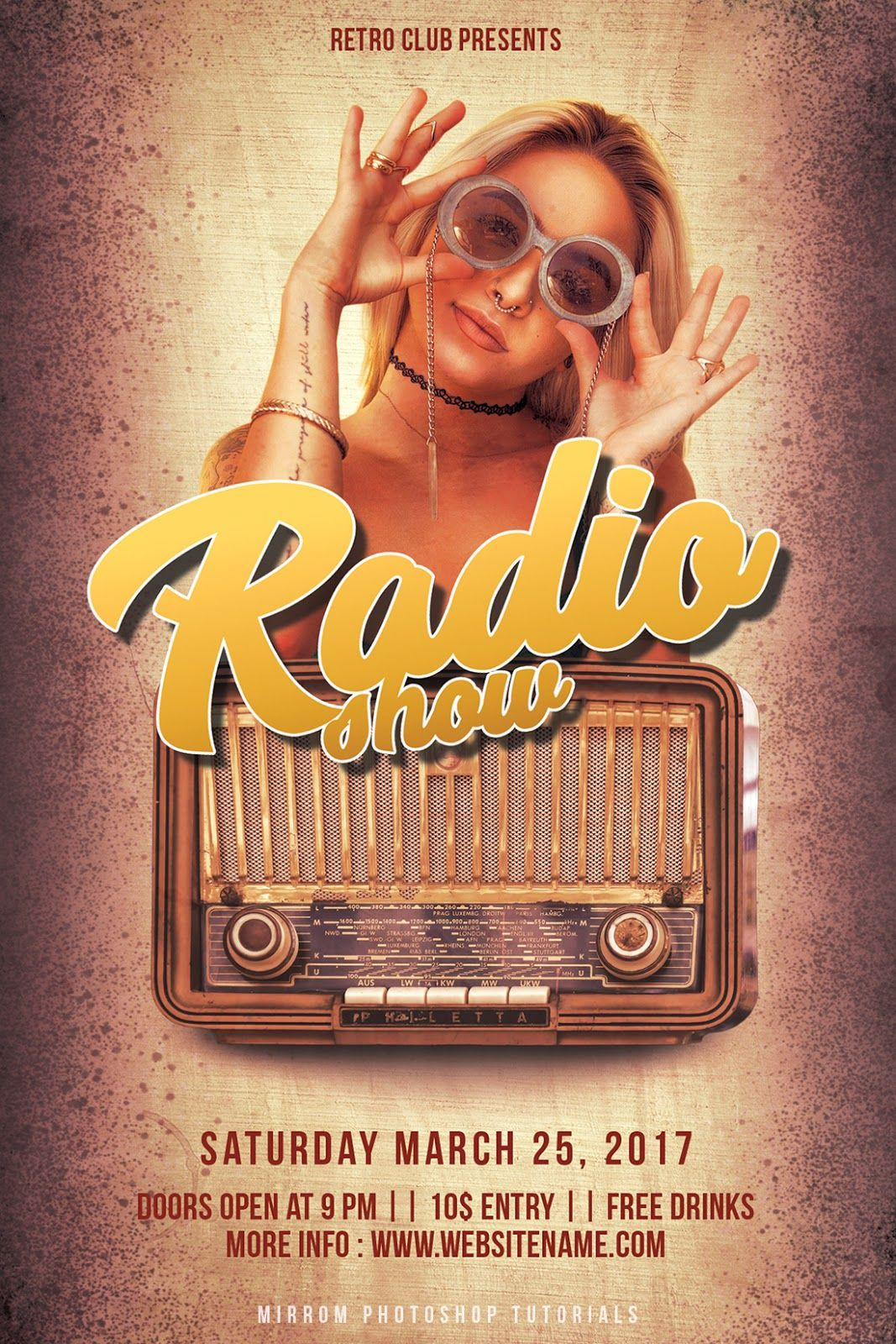 Create a retro style radio show flyer in photoshop party flyer this tutorial will help you to create a party flyer retro style in photoshop baditri Choice Image