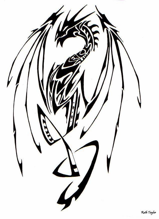 37 Tribal Dragons For Sticker Design Inspiration Uprinting Tribal Dragon Tattoos Dragon Tattoo Tattoos