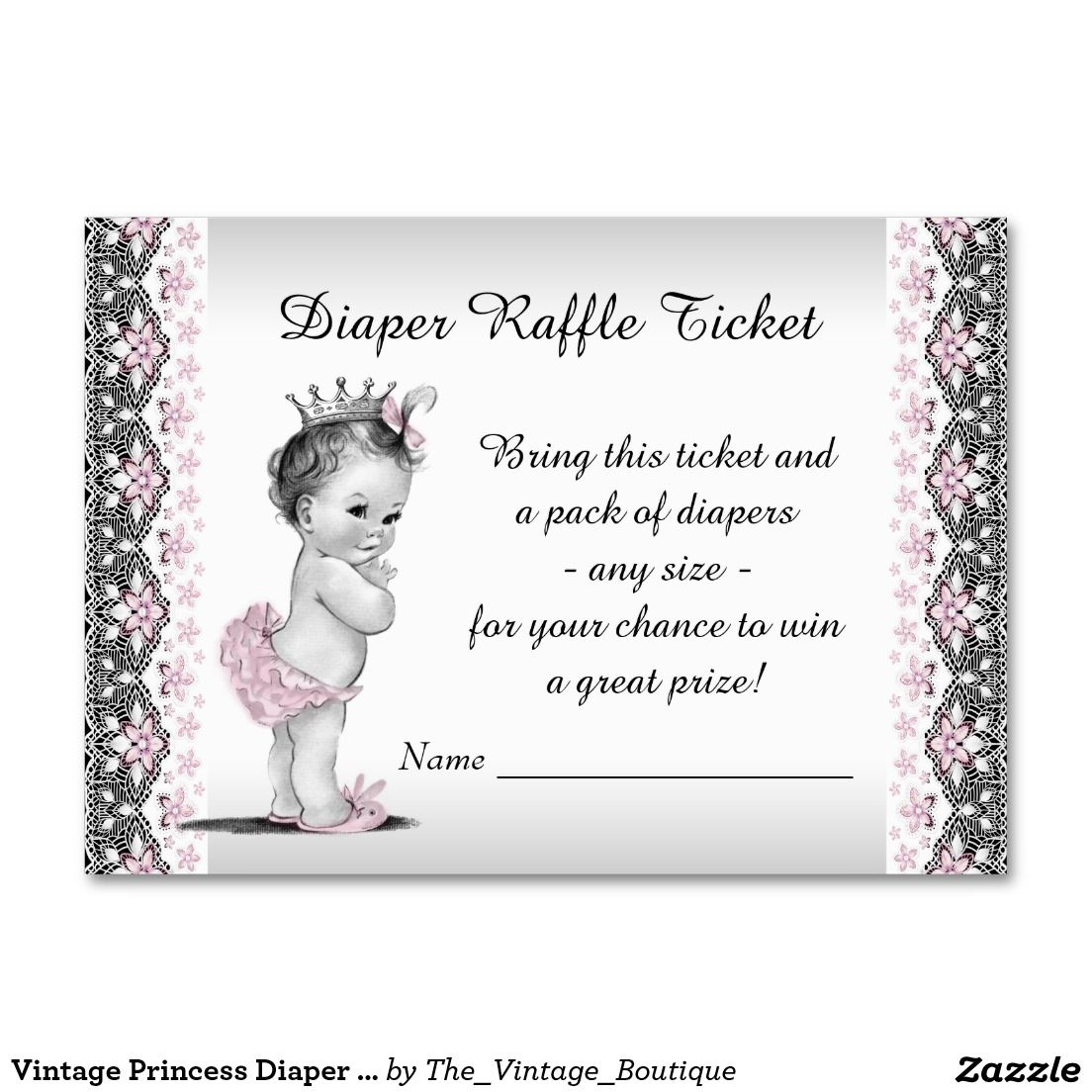 Vintage princess diaper raffle ticket large business cards pack vintage princess diaper raffle ticket large business cards pack of 100 magicingreecefo Choice Image