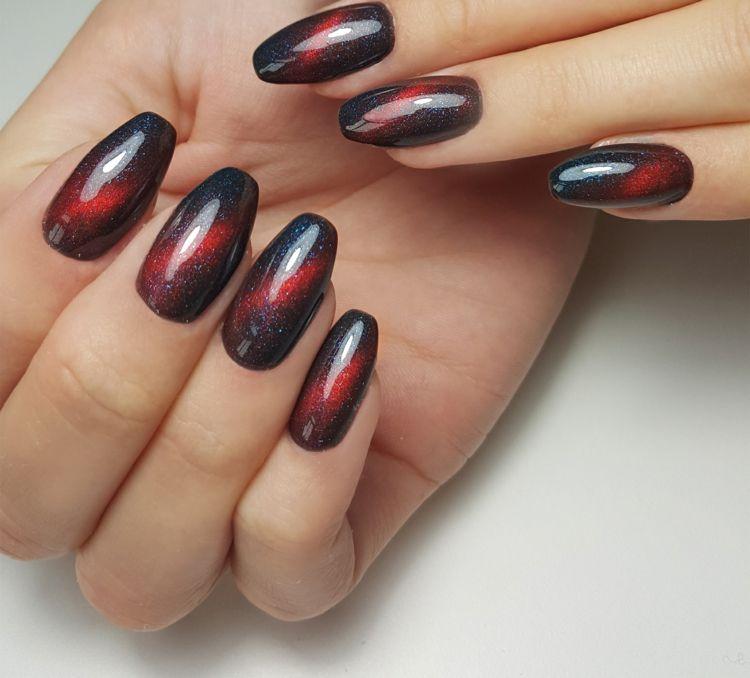 rot schwarz glitzerpartikel cat eye nägel nagellack magnetisch #nail ...