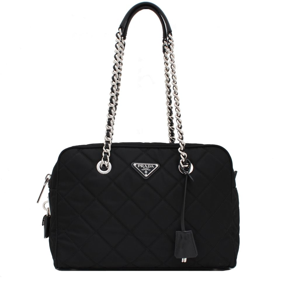 04af8fd99e1 Prada 1BB903 Quilted Tessuto Nylon Shoulder Bag with Chain Accents- Black