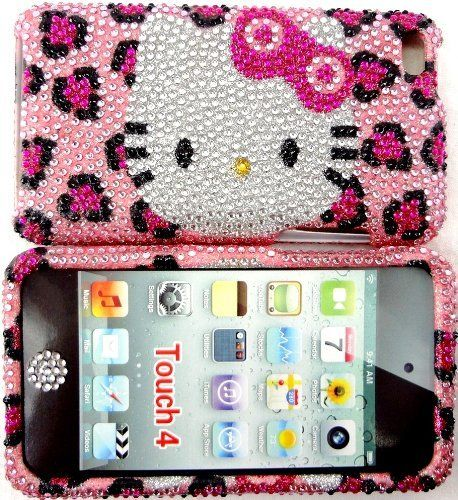 Pink Blinged Out Case for Girls Women Leopard cheetah Hello Kitty Red Bowknot Rhinestone Jeweled Fits Apple Ipod Touch 4g Cover Bumper and Bling Button by Bling_Cases_Usa, http://www.amazon.com/dp/B008YJL0VM/ref=cm_sw_r_pi_dp_SUyerb0KK7904
