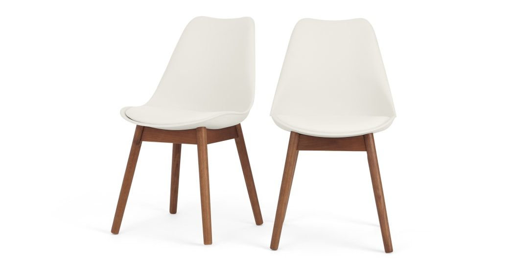 Set Of 2 Thelma Dining Chairs Dark Stain Oak And White Rote Stuhle Stuhle Esszimmerstuhle