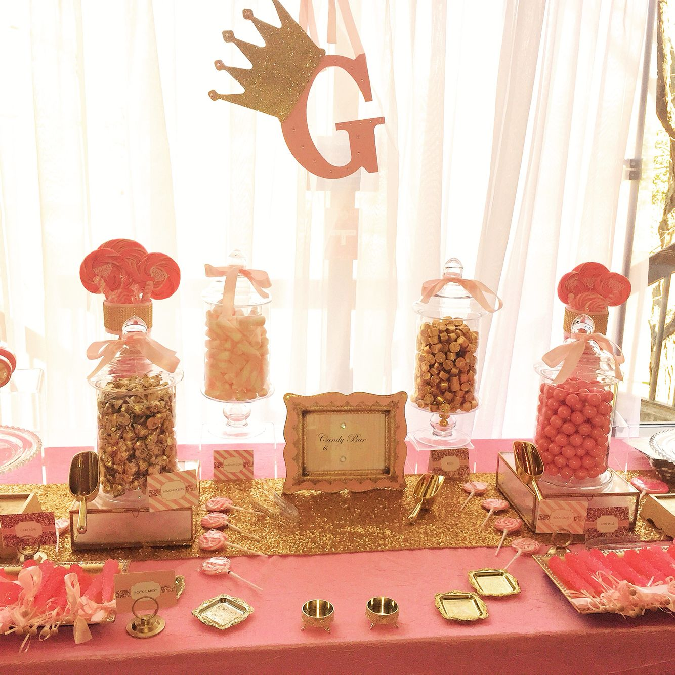 Pink And Gold Candy Princess Theme Table Candy Buffet Tables Gold Candy Princess Theme
