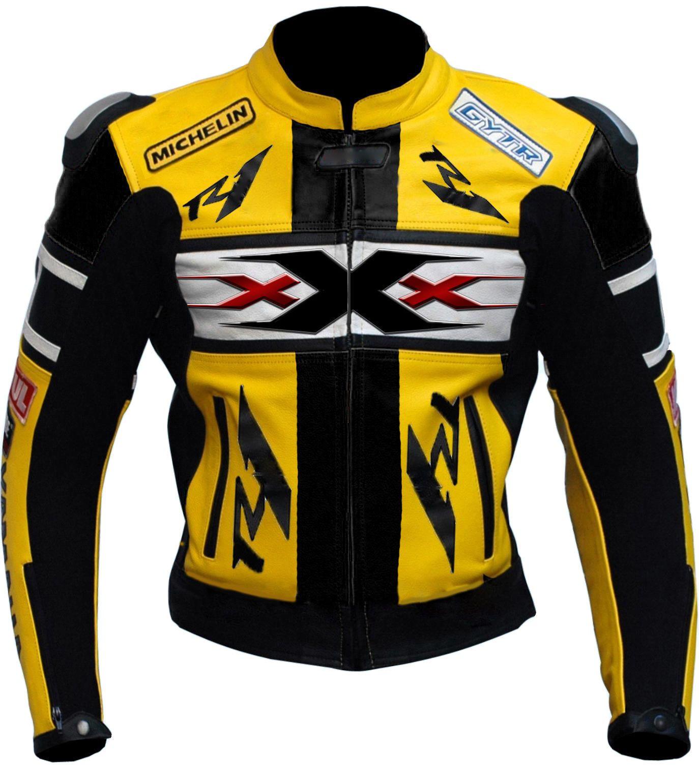 New Handmade Men Black Yellow Scooter Motorbike Leather Jacket